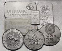 Platinbarren u. -münzen