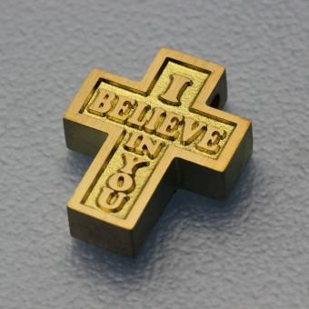 "Kreuz Anhänger 14K / 585 Gold ""I Believe in You"""