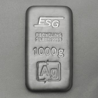 Recycling Silberbarren 1000g/1kg ESG, gegossen