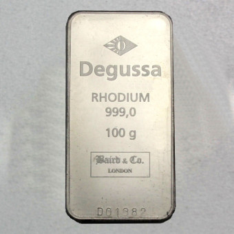 Rhodiumbarren 100g (999 Rh), geprägt