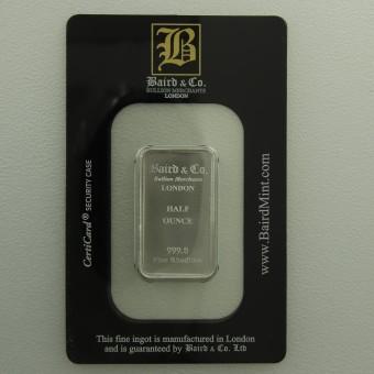 Rhodiumbarren 1/2oz (999 Rh) Baird&Co., geprägt