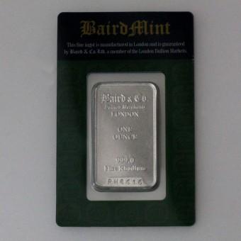 Rhodiumbarren 1oz (999 Rh) Baird&Co., geprägt
