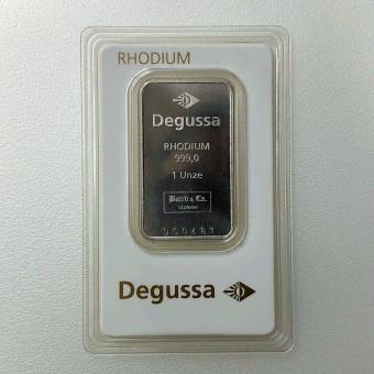 Rhodiumbarren 1oz Degussa (999 Rh), geprägt