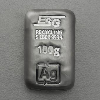 Silberbarren 100g ESG, gegossen