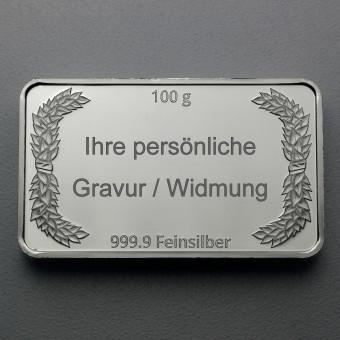"""Silberbarren 100g """"Gravur-Lorbeerkranz"""""""