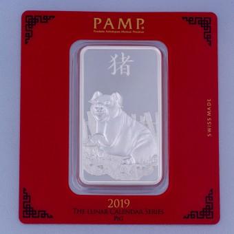 """Silberbarren 100g """"Schwein 2019"""" Lunar Pamp"""
