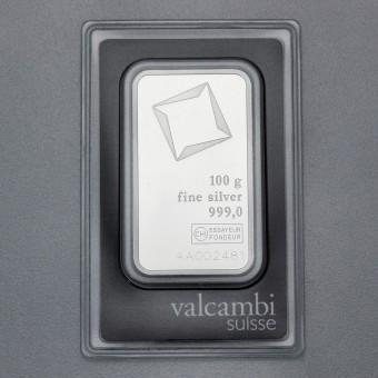 Silberbarren 100g Valcambi, Blister