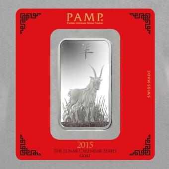 "Silberbarren 100g ""Ziege 2015"" Lunar Pamp"