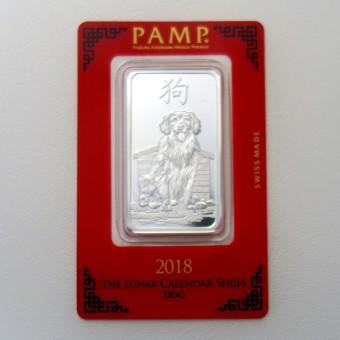 "Silberbarren 1oz ""Hund 2018"" Lunar Pamp"