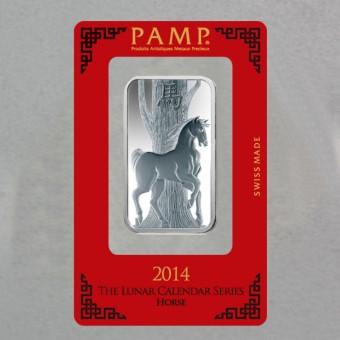 """Silberbarren 1oz """"Pferd 2014"""" Lunar Pamp"""