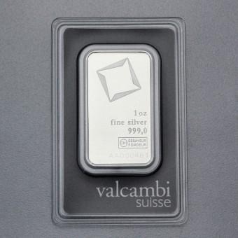 Silberbarren 1oz Valcambi, Blister