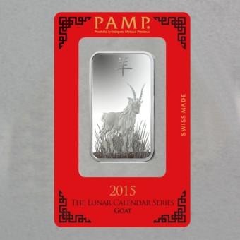 "Silberbarren 1oz ""Ziege 2015"" Lunar Pamp"