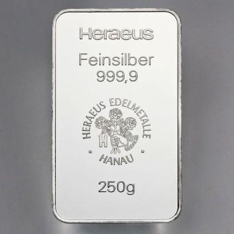 Silberbarren 250g Heraeus, geprägt