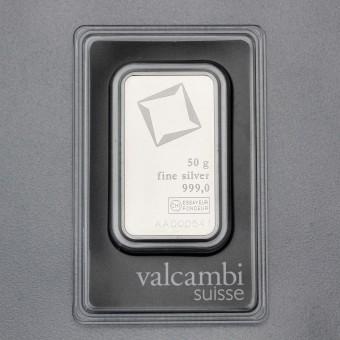 Silberbarren 50g Valcambi, Blister