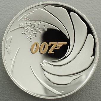 "Silbermünze 1oz ""James Bond 007"" 2020, (PP, HR) Polierte Platte, High Relief"