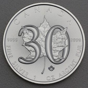 "Silbermünze 1oz ""Maple Leaf 30 Jahre-Edition"""