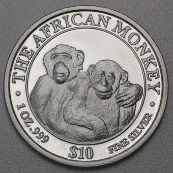 """Silbermünze 1oz """"Somalia Monkey 2000"""""""