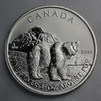 """Silbermünze 1oz """"Wildlife Kanada - Grizzly 2011"""""""