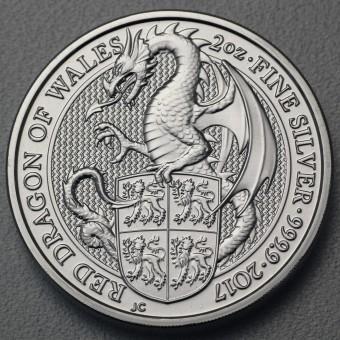 "Silbermünze 2oz ""Dragon of Wales 2017 Qu. Beast"""