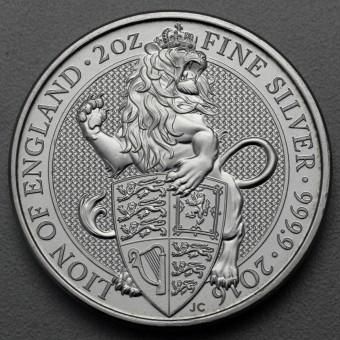 "Silbermünze 2oz ""Lion of England 2016 Qu. Beast"""