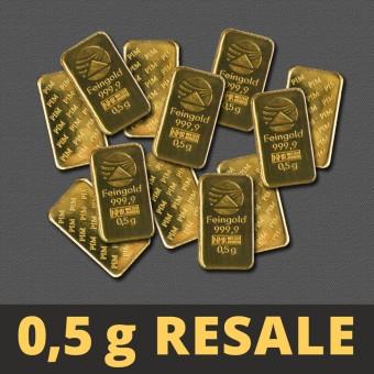 """Goldbarren 0,5g """"Resale"""" (div.Hersteller)"""