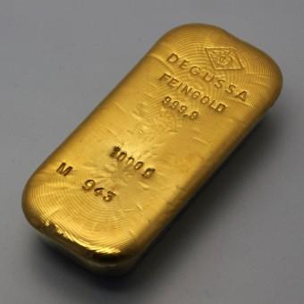 Goldbarren 1000g Degussa (alte Form)