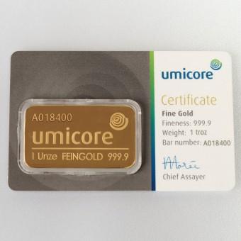 Goldbarren 1oz UMICORE/Blister m. Zertifikat