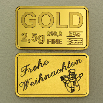 "Goldbarren 2,5g Gravur ""Frohe Weihnachten"""