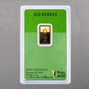 "Goldbarren 2,5g ""Green Gold"" VALCAMBI (999,9 Au)"