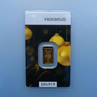 """Goldbarren 2g """"Kinebar"""" (Weihnachtsmotiv) HERAEUS"""