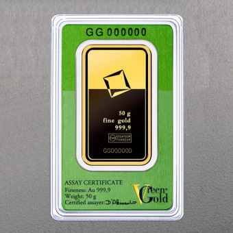 "Goldbarren 50g ""Green Gold"" VALCAMBI (999,9 Au)"
