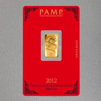 """Goldbarren 5g """"Drache 2012"""" Lunar PAMP"""