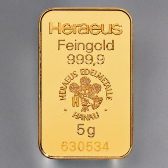 Goldbarren 5g HERAEUS, geprägt