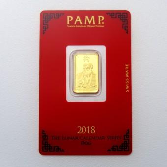 """Goldbarren 5g """"Hund 2018"""" Lunar PAMP"""