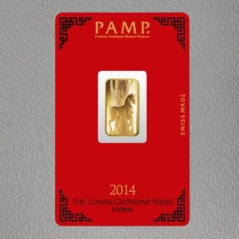 """Goldbarren 5g """"Pferd 2014"""" Lunar PAMP"""