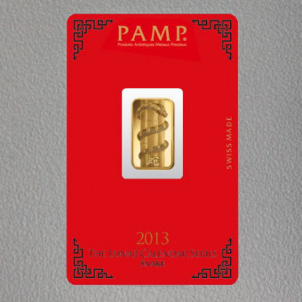 """Goldbarren 5g """"Schlange 2013"""" Lunar PAMP"""