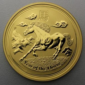 "Goldmünze 1/10oz ""Pferd 2014"" Lunar II"