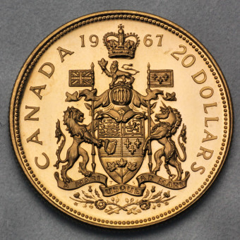"Goldmünze ""20 Dollars-Elisabeth II. 1967"" (Kanada)"