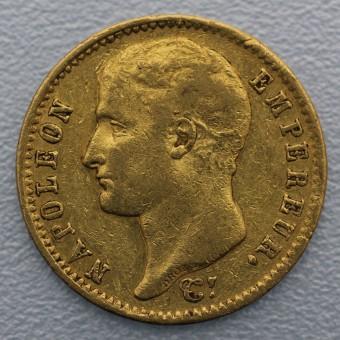 "Goldmünze ""20 Francs/Napoleon I. ohne Kranz"" (F)"