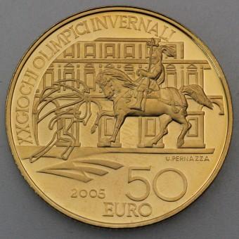 """Goldmünze """"50 Euro-2005 Reitstandbild"""" (Italien)"""