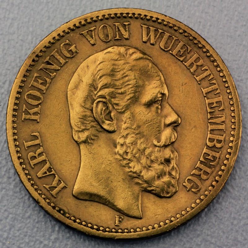 Reichsgoldmünze 20 Mark Karl Württemberg