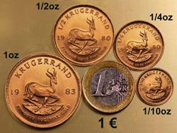 Krügerrand Goldmünzen im Grössenvergleich zu einer Euromünze
