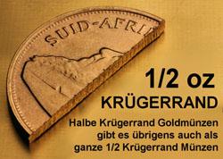 Halbierte Krügerrand Goldmünze