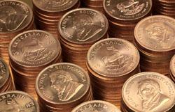 Krügerrand Goldmünzen gestapelt