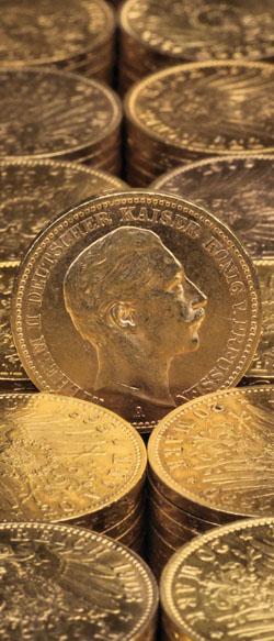 gestapelte Reichsgoldmünze