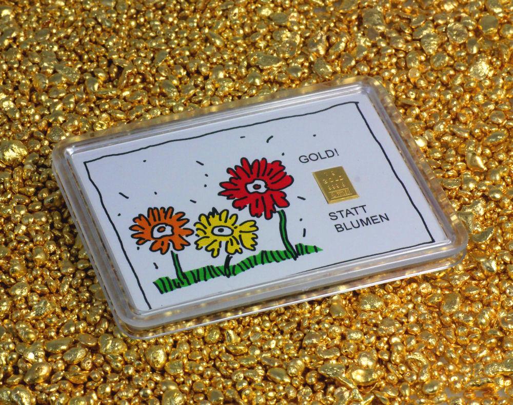 Alternative Geschenk Goldbarren anstatt Blumen