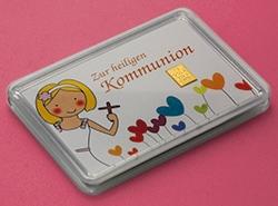 Zur Kommunion 1g Goldbarren der ESG mit dem passenden Motiv für Mädchen als Illustration