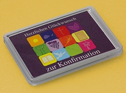 Zur Konfirmation: 1g Feingoldbarren in der Motivbox mit einer Collage aus christlichen Symbolen