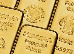 gegossene Goldbarren von Hereaus in diversen Größen