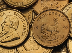 Krügerrand Goldmünzen unterschiedlicher Jahrgänge